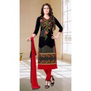 Office Wear Black & Red Cotton Churidar Suit - 73593