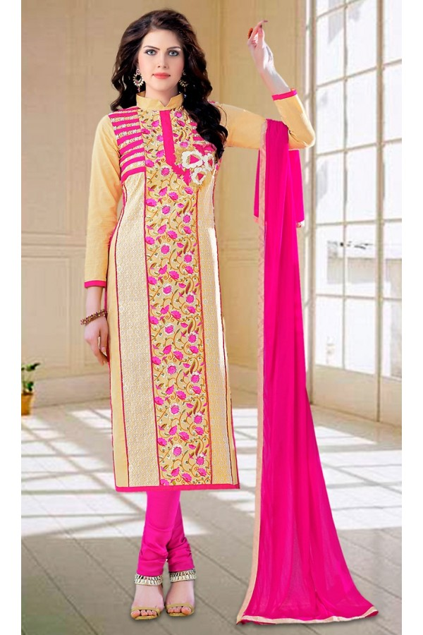 Ethnic Wear Beige & Pink Cotton Salwar Suit - 73594