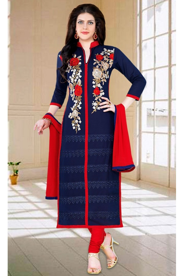 Party Wear Navy Blue & Red Cotton Salwar Suit - 73595