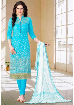 Party Wear Sky Blue & White Churidar Suit - 73596