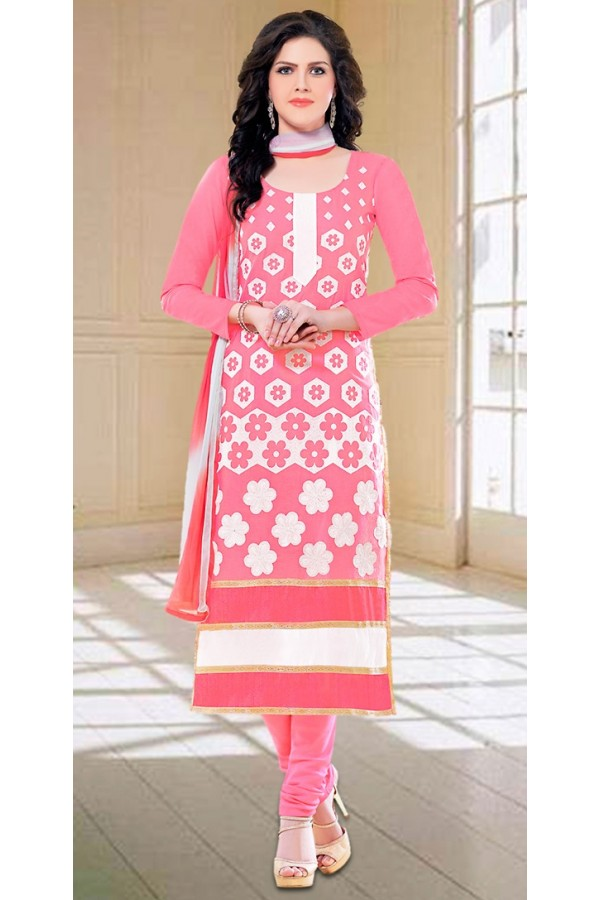 Office Wear Pink Embroidery Churidar Suit - 73597