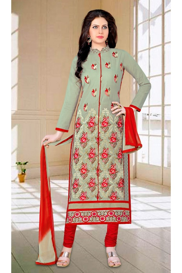 Ethnic Wear Green & Red Cotton Salwar Suit - 73602