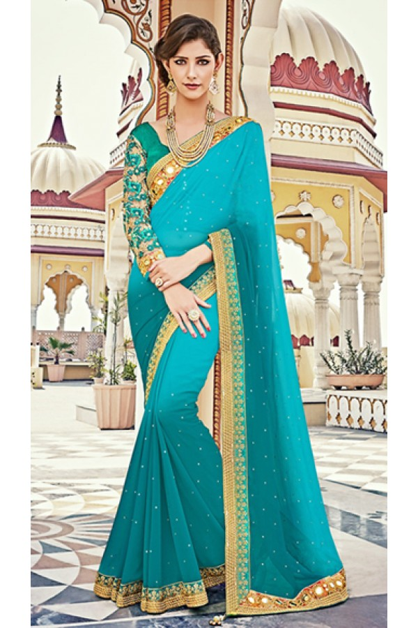 Party Wear Aqua Blue & Green Georgette Saree  - 73621