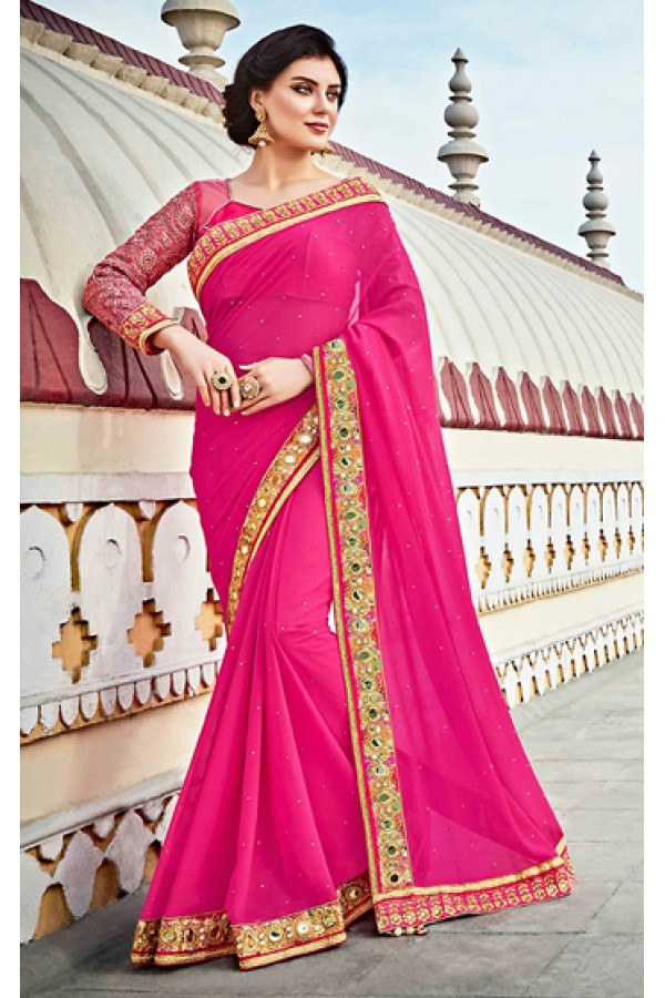 Ethnic Wear Pink Georgette Saree  - 73622