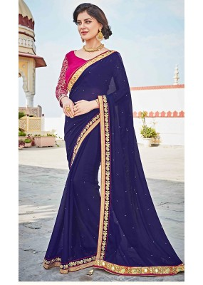 Party Wear Navy Blue & Pink Georgette Saree  - 73623