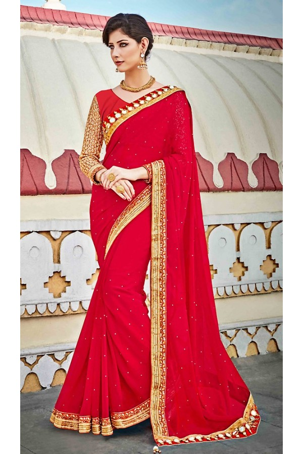 Ethnic Wear Red Georgette Saree  - 73624