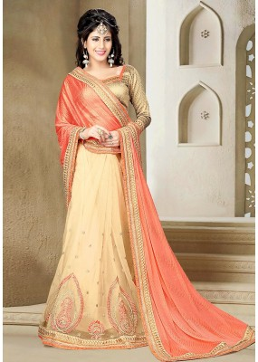Party Wear Pink & Beige Lycra Saree  - 73640