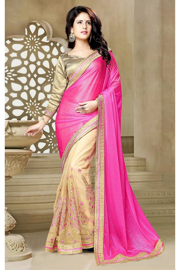 Party Wear  Pink & Beige Lycra Saree  - 73642
