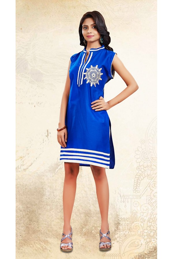 Office Wear Readymade Blue Cotton Kurti - 73688