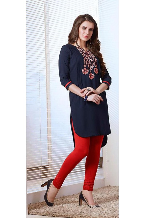 Festival Wear Readymade Navy Blue Cotton Kurti - 73764