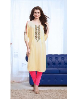 Ethnic Wear Readymade Cream Cotton Kurti - 73765