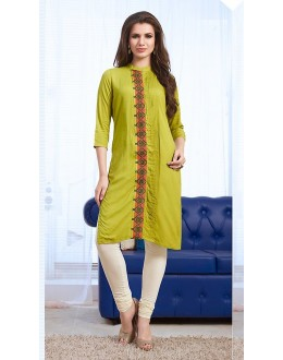 Office Wear Readymade Green Cotton Kurti - 73766