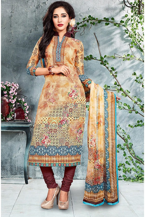 Office Wear Beige & Maroon Cotton Salwar Suit - 73786