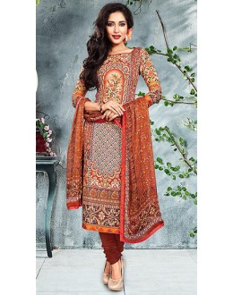 Casual Wear Maroon Cotton Churidar Suit - 73791