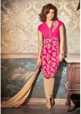 Festival Wear Pink & Tan Brown Georgette Salwar Suit - 73891