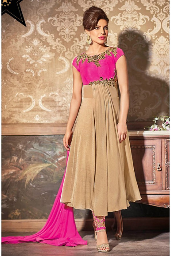 Festival Wear Tan Brown & Pink Georgette Anarkali Suit - 73893