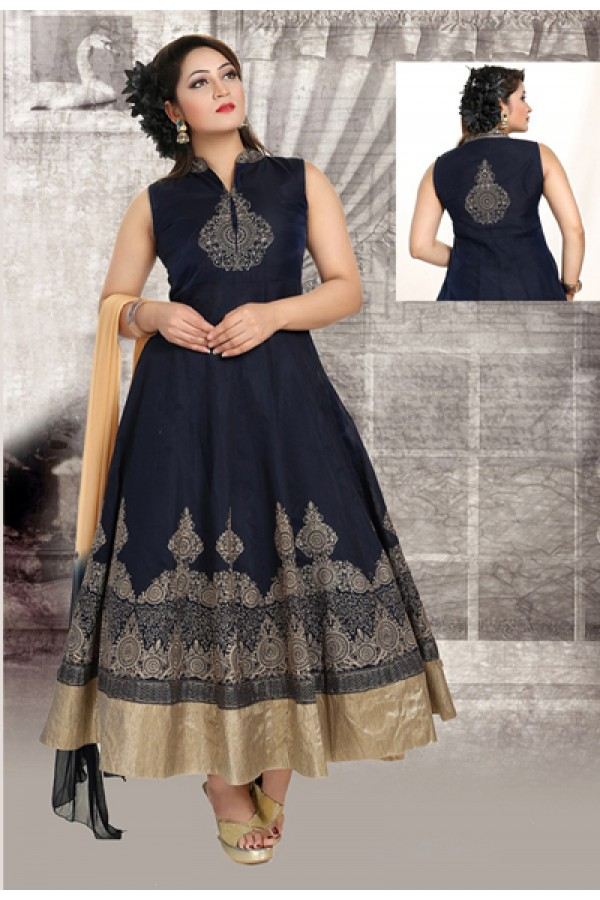 Party Wear Readymade Navy Blue Anarkali Suit - 73943
