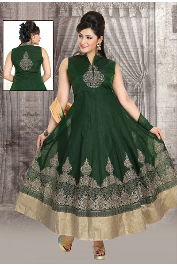 Festval Wear Readymade Green Anarkali Suit - 73944