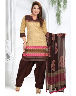 Ethnic Wear Readymade Beige & Brown Patiyala Suit - 73946