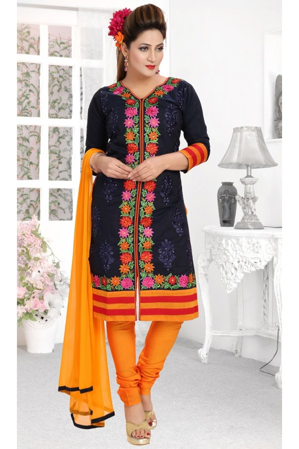 Ethnic Wear Readymade Navy Blue Salwar Suit - 73949