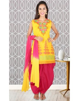 Festival Wear Readymade Yellow Patiyala Suit - 73952