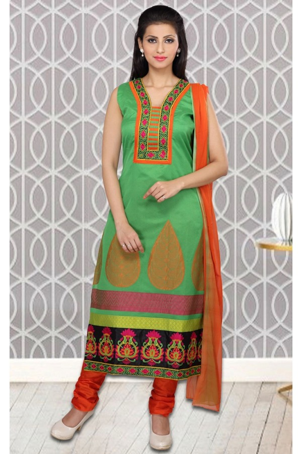 Ethnic Wear Readymade Green Salwar Suit - 73957