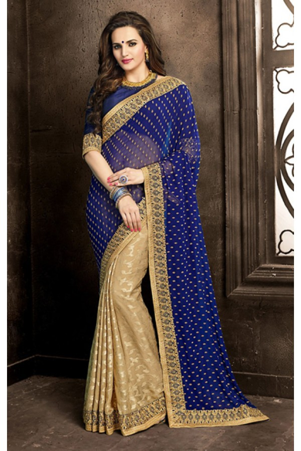 Party Wear Blue & Tan Brown Georgette Saree  - 73862