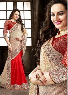 Festival Wear Beige & Red Imported Saree  - 73863