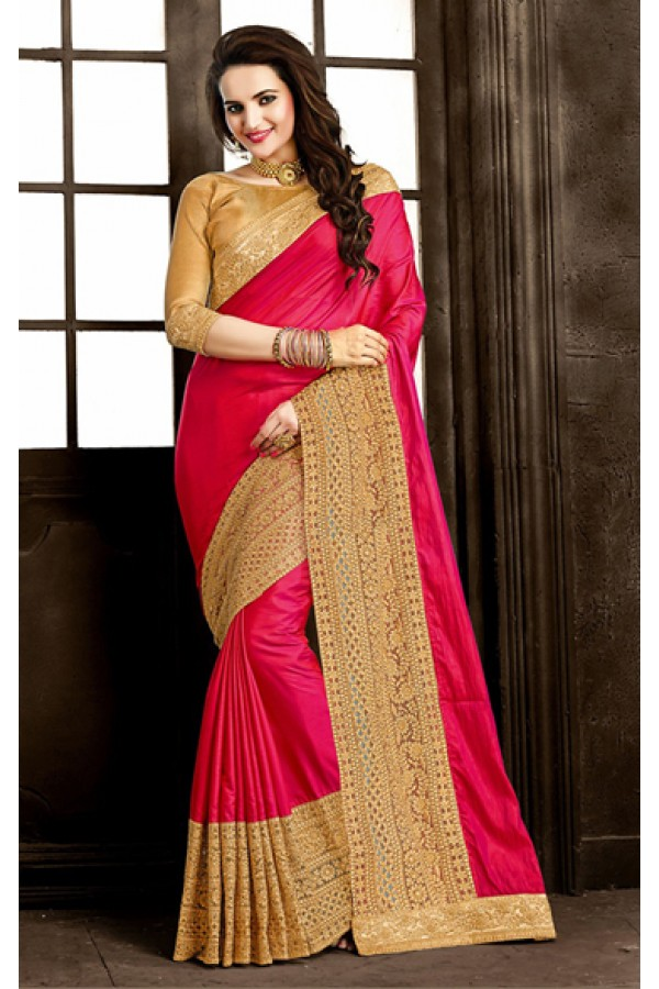 Ethnic Wear Pink & Tan Brown Chiffon Saree  - 73866