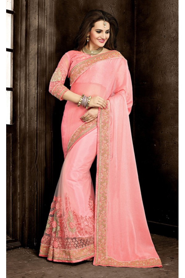 Ethnic Wear Pink Chiffon Embroidered Saree  - 73868