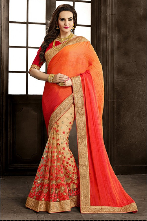Festival Wear Orange & Red Net Saree  - 73869