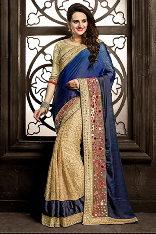 Festival Wear Blue & Beige Georgette Saree  - 73870