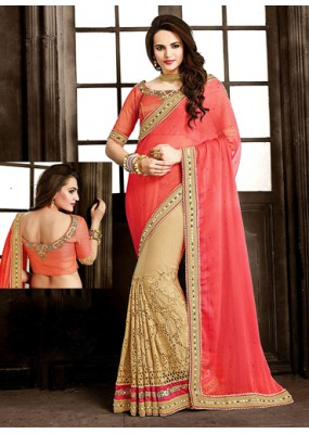 Festival Wear Pink & Tan Brown Chiffon Saree  - 73871