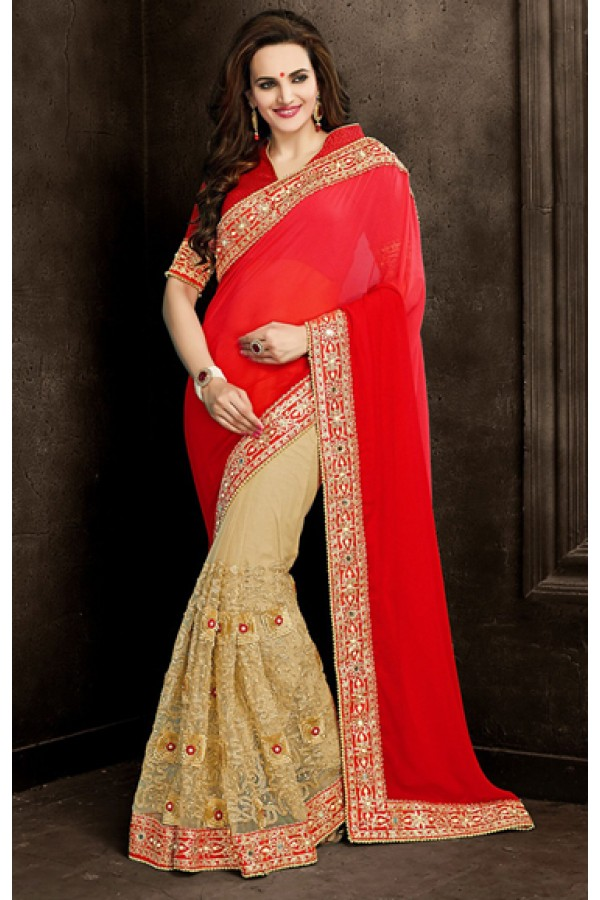 Designer Red & Tan Brown Georgette Saree  - 73874