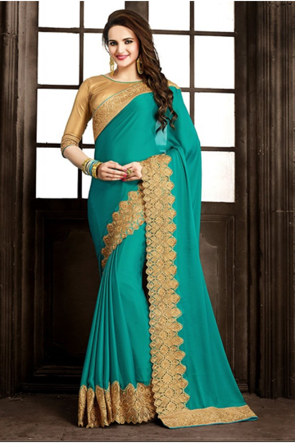 Designer Green & Gold Crepe Silk Saree  - 73875