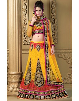 Designer Yellow Net Embroidered Lehenga Choli - 73977