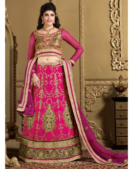 Wedding Wear Tan Brown & Fuchsia Lehenga Choli - 73981