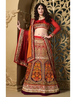 Bridal Red & Orange Net Embroidered Lehenga Choli - 73982