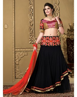 Fancy Tan Brown & Black Net Lehenga Choli - 73983