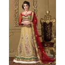 Wedding Wear Tan Brown & Maroon Net Lehenga Choli - 73984