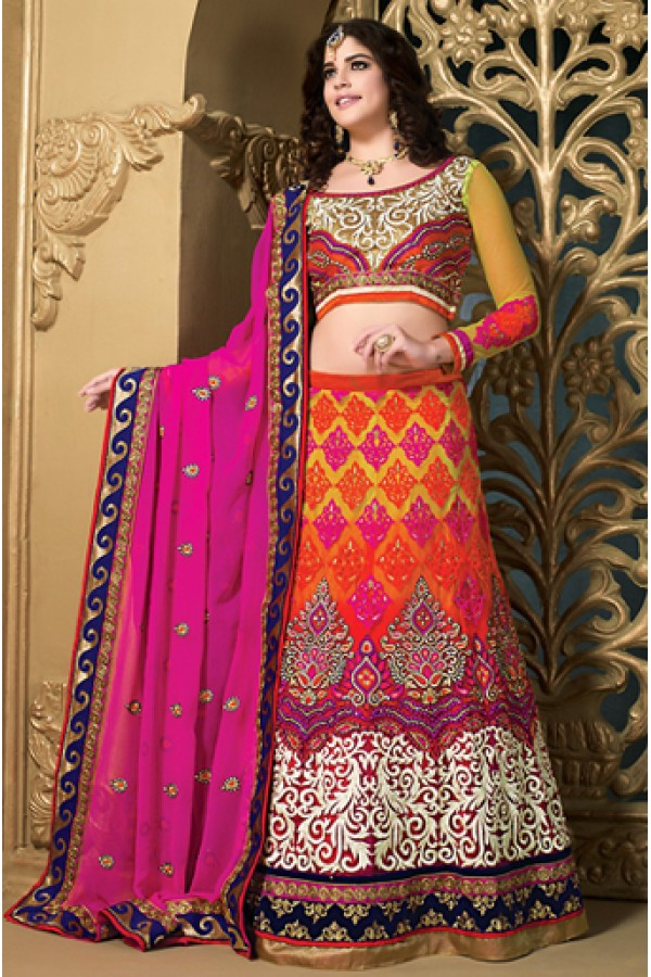 Traditional Orange & Pink Net Lehenga Choli - 73986