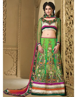 Wedding Wear Green & Orange Chiffon Lehenga Choli - 73988