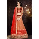 Designer Orange & Maroon Silk Lehenga Choli - 74008