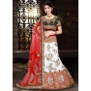 Bridal White & Red Net Embroidered Lehenga Choli - 74010