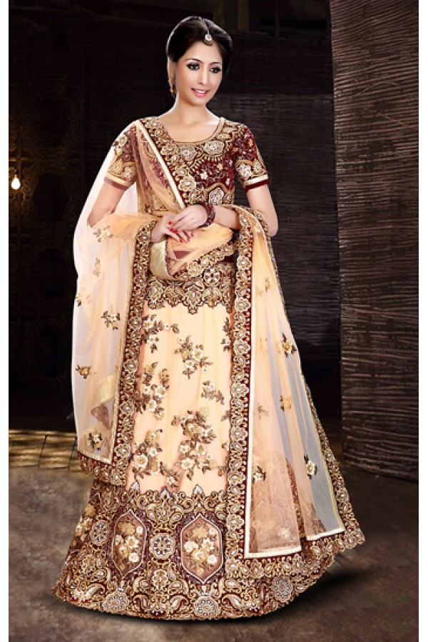 Wedding Wear Cream & Maroon Net Lehenga Choli - 74011