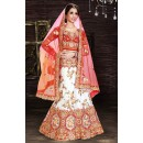 Wedding Wear White & Red Net Lehenga Choli - 74012