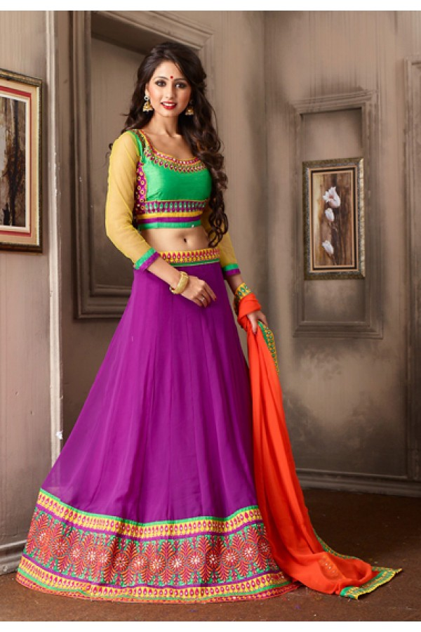 Ethnic Wear Fuchsia & Green Georgette Lehenga Choli - 74018