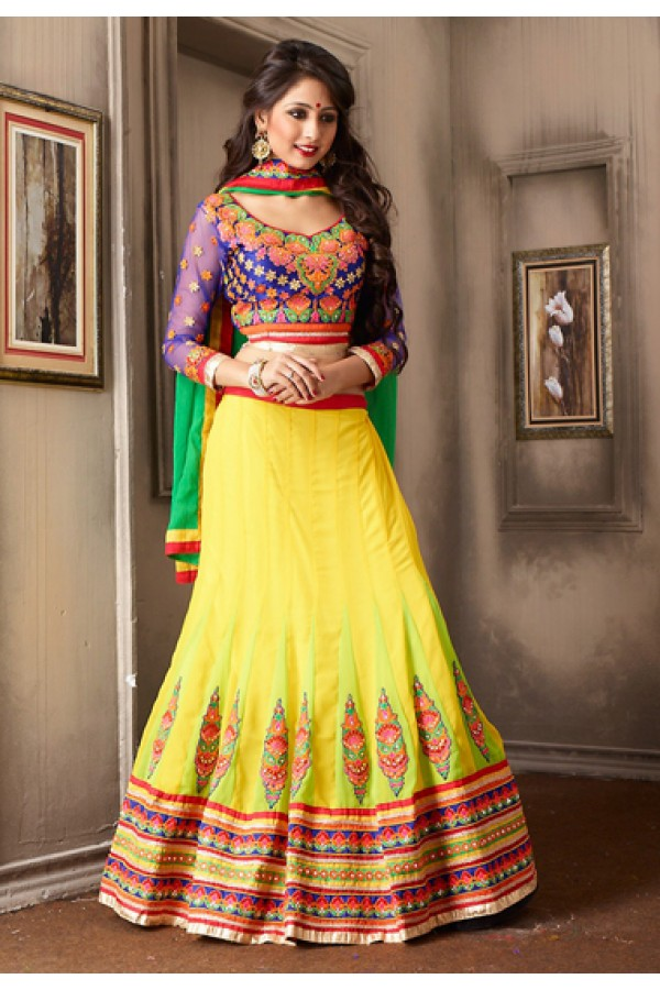 Designer Yellow & Blue Georgette Lehenga Choli - 74021