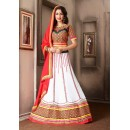 Ethnic Wear White & Red Georgette Lehenga Choli - 74025