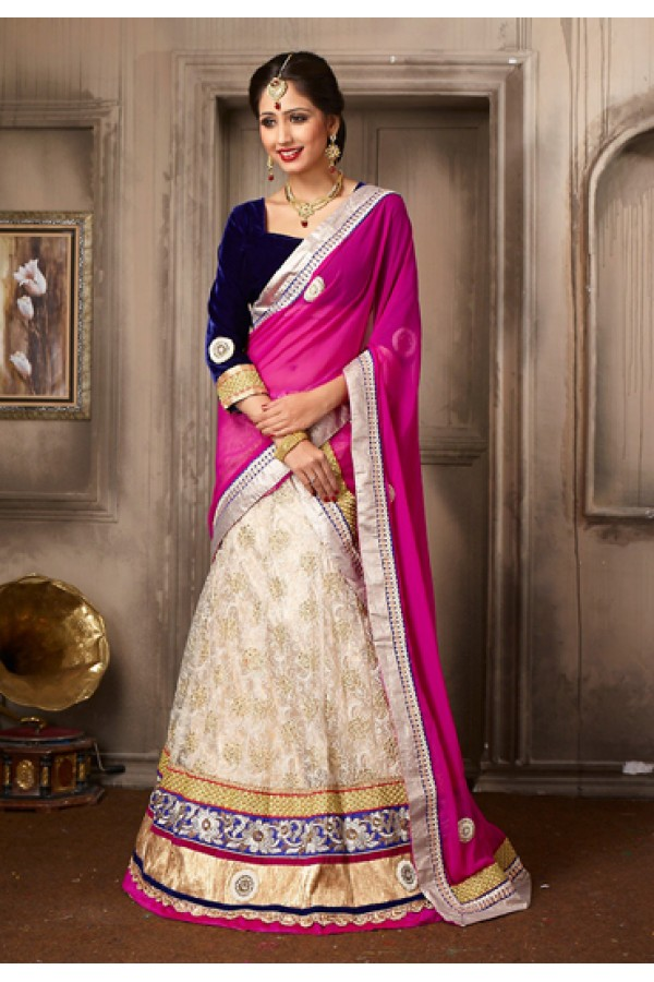 Traditional White & Blue Georgette Lehenga Choli - 74026